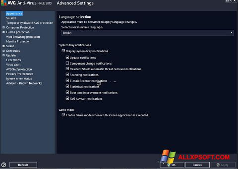 Screenshot AVG Windows XP