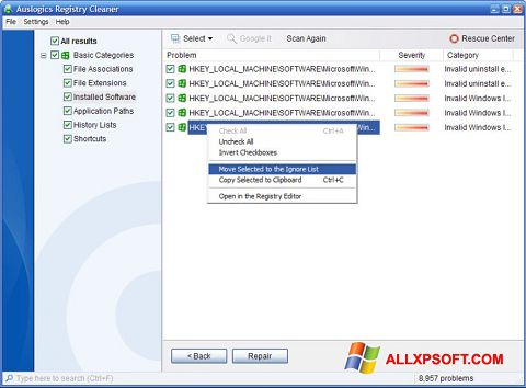 Screenshot Auslogics Registry Cleaner Windows XP