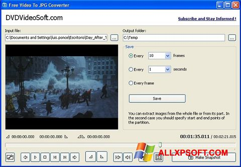 Screenshot Free Video to JPG Converter Windows XP