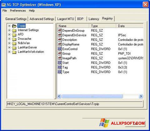 Screenshot TCP Optimizer Windows XP